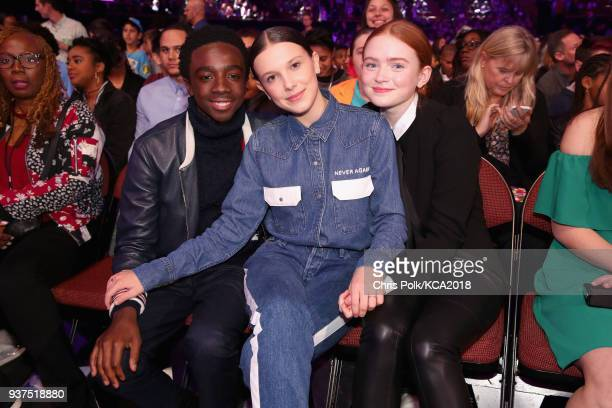 Caleb McLaughlin Millie Bobby Brown and Sadie Sink onstage at Nickelodeon's 2018 Kids' Choice Awards at The Forum on March 24 2018 in Inglewood...