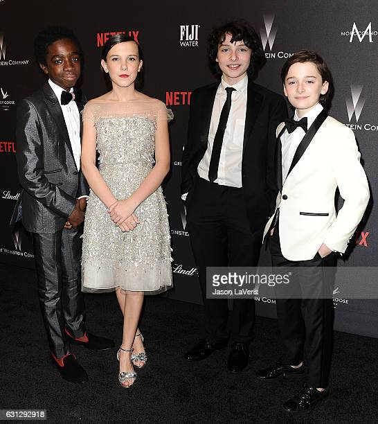 Caleb McLaughlin Millie Bobby Brown Finn Wolfhard and Noah Schnapp attend the 2017 Weinstein Company and Netflix Golden Globes after party on January...