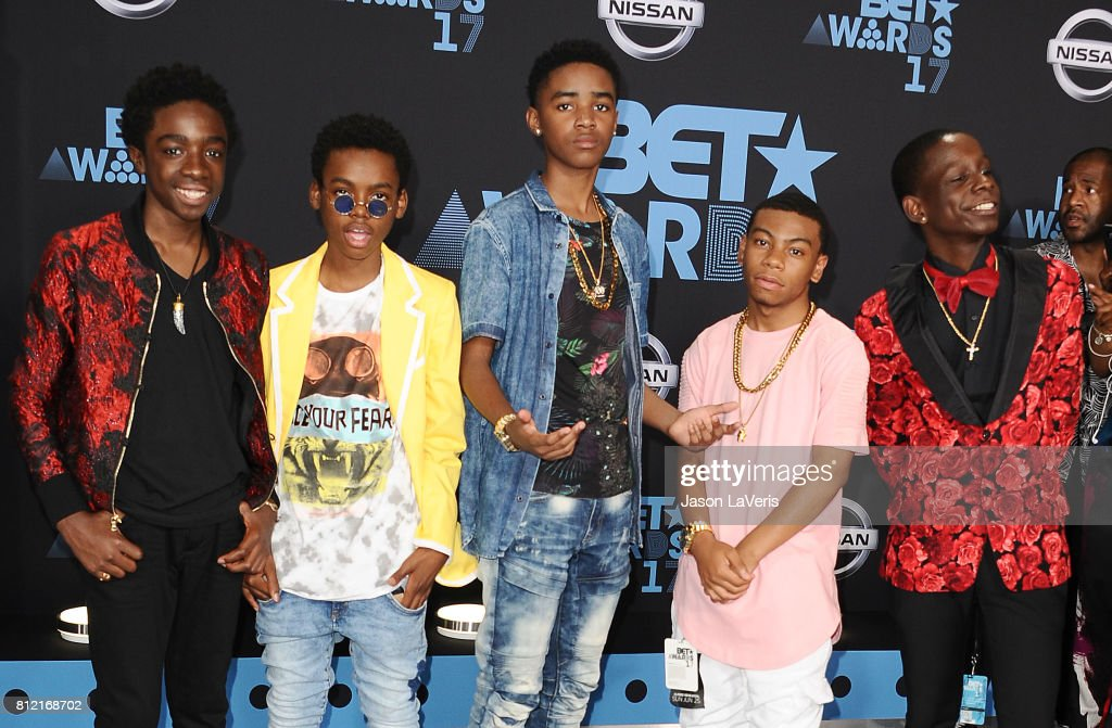 Caleb McLaughlin, Myles Truitt, Jahi Di'Allo Winston, Dante Hoagland and Tyler Marcel Williams of 'The New Edition Story' attend the 2017 BET Awards at Microsoft Theater on June 25, 2017 in Los Angeles, California.