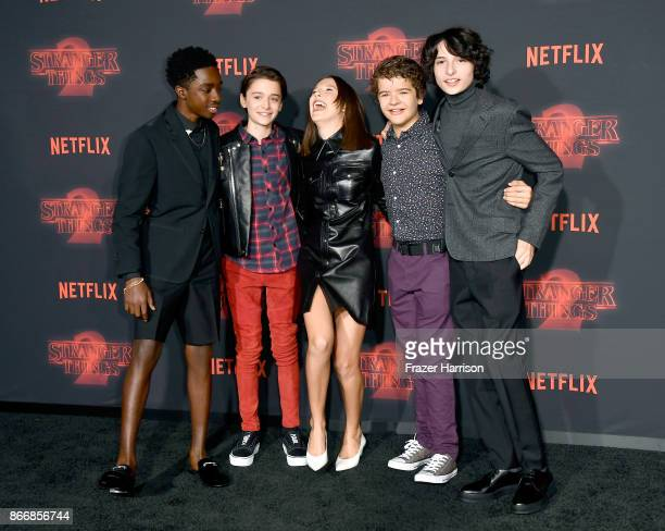 Caleb McLaughlin Noah Schnapp Millie Bobby Brown Gaten Matarazzo and Finn Wolfhard attend the premiere of Netflix's Stranger Things Season 2 at...