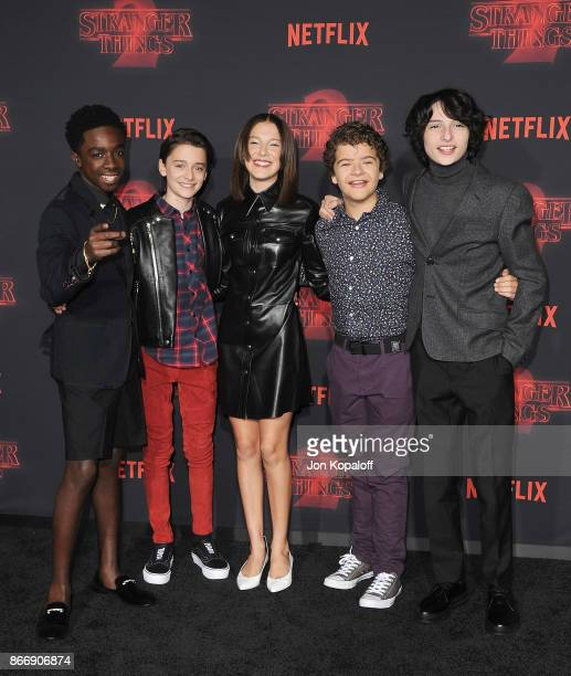 Caleb McLaughlin Noah Schnapp Millie Bobby Brown Gaten Matarazzo and Finn Wolfhard arrive at the premiere of Netflix's 'Stranger Things' Season 2 at...