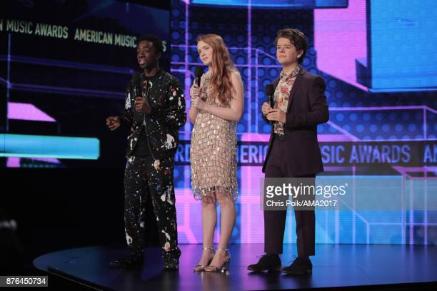 Caleb McLaughlin Sadie Sink and Gaten Matarazzo onstage during the 2017 American Music Awards at Microsoft Theater on November 19 2017 in Los Angeles...