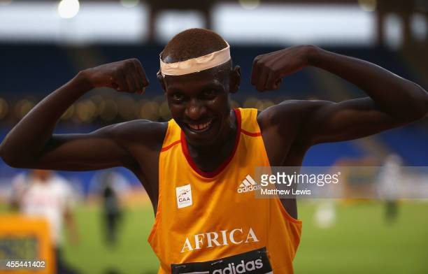 Caleb Mwangangi Ndiku of Africa celebrates winning the Mens 3000m Final during Day two of the IAAF Continental Cup at the Stade de Marrakech on...
