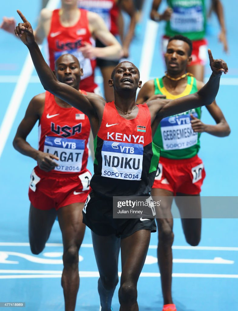 Caleb Mwangangi Ndiku of Kenya celebrates winning the gold medal in the Men's 3000m Final during day three of the IAAF World Indoor Championships at Ergo Arena on March 9, 2014 in Sopot, Poland.