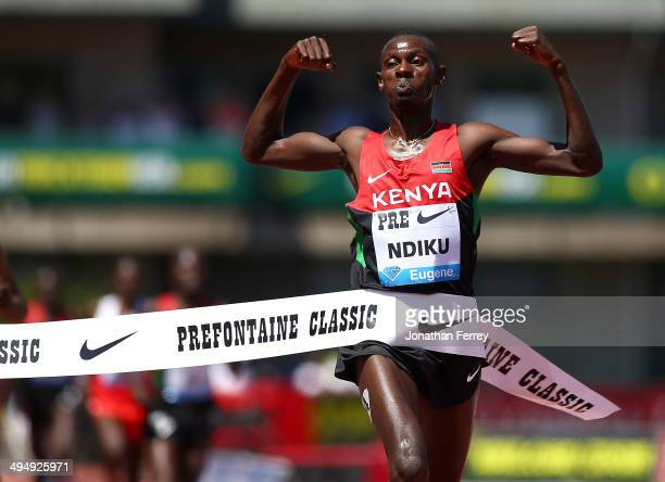 Caleb Mwangangl Ndiku of Kenya celebrates his victory in the 5000m during day 2 of the IAAF Diamond League Nike Prefontaine Classic on May 31 2014 at...