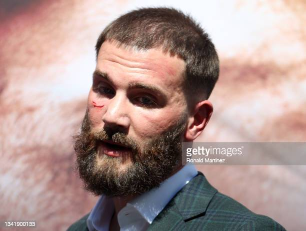 Caleb Plant after a face-off with Canelo Alvarez during a press conference ahead of their super middleweight fight on November 6 at The Beverly...