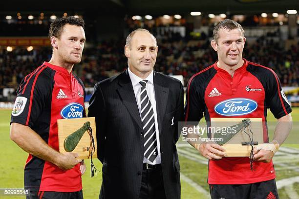 Caleb Ralph of the Crusaders Jock Hobbs the head of New Zealand Rugby and Reuben Thorne of the Crusaders pose after the round Super 14 game between...