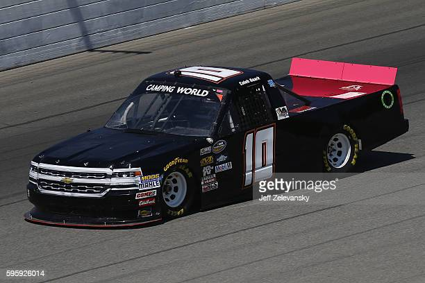Caleb Roark driver of the Driven2Honororg Chevrolet drives during practice for the NASCAR Camping World Truck Series Careers for Veterans 200 at...