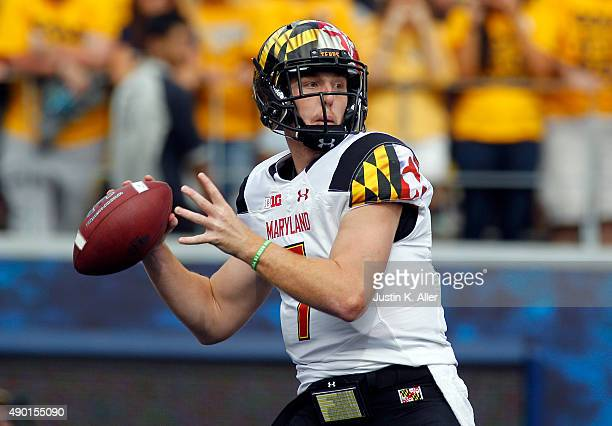 Caleb Rowe of the Maryland Terrapins drops back to pass during the game against the West Virginia Mountaineers on September 26 2015 at Mountaineer...