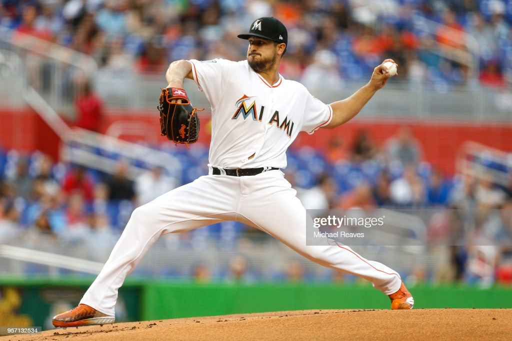 Caleb Smith #31 of the Miami Marlins delivers a pitch in the first inning against the Atlanta Braves at Marlins Park on May 10, 2018 in Miami, Florida.