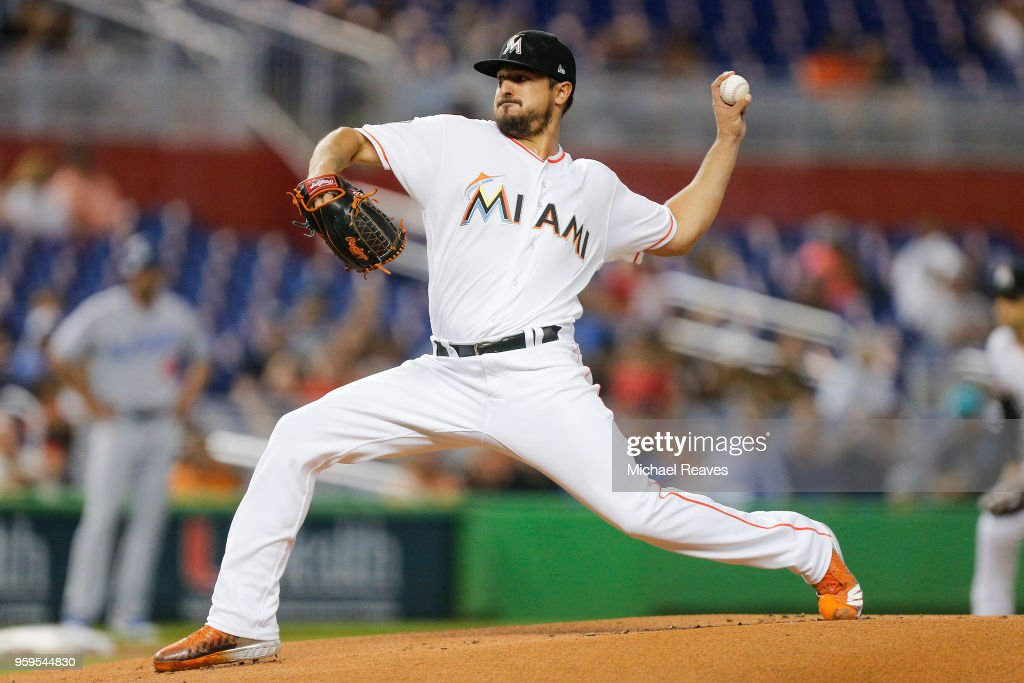 Caleb Smith #31 of the Miami Marlins delivers a pitch in the first inning against the Los Angeles Dodgers at Marlins Park on May 17, 2018 in Miami, Florida.