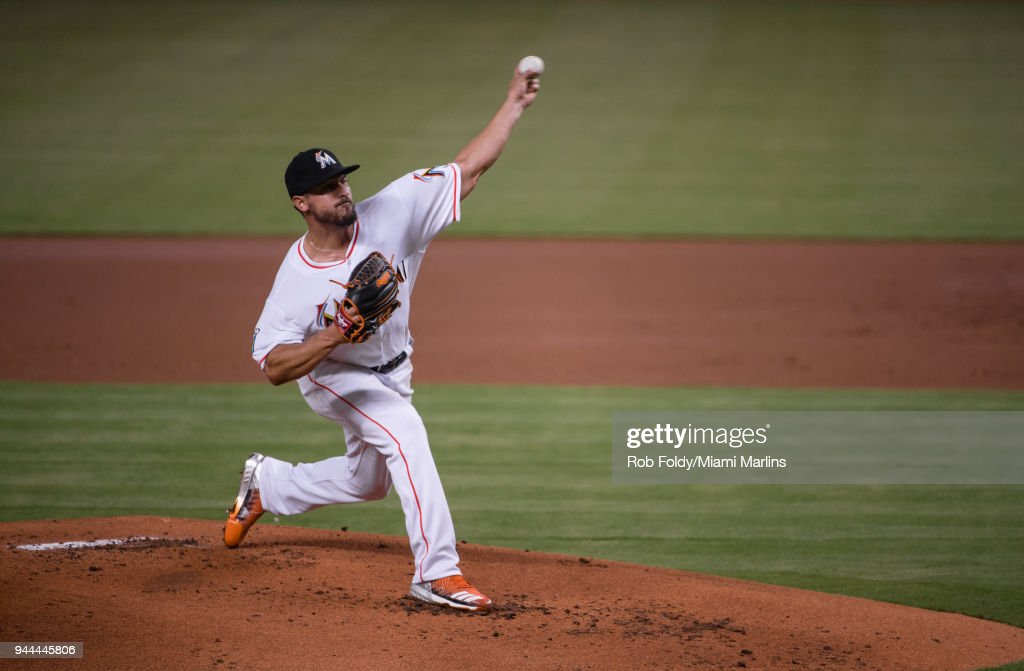 Caleb Smith #31 of the Miami Marlins pitches during the first inning of the game against the New York Mets at Marlins Park on April 10, 2018 in Miami, Florida.