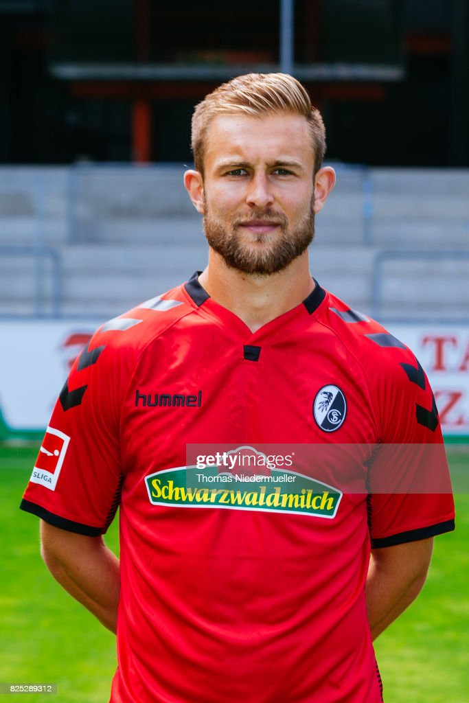 Caleb Stanko of SC Freiburg poses during the team presentation at Schwarzwald-Stadion on August 1, 2017 in Freiburg im Breisgau, Germany.