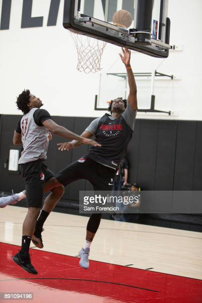 Caleb Swanigan of the Portland Trail Blazers drives to the basket during an all access practice on December 7 2017 at the Trail Blazer Practice...