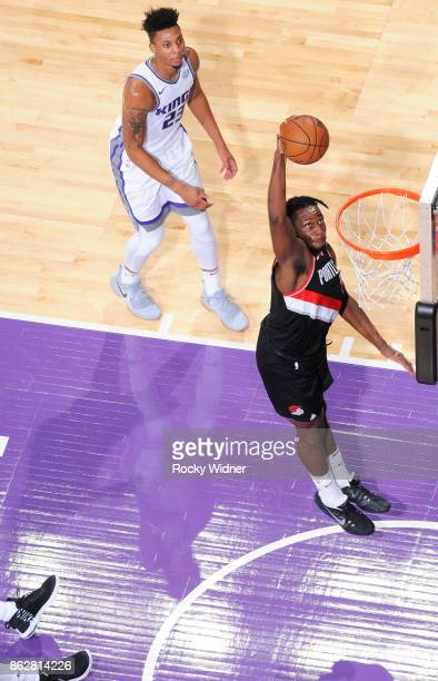 Caleb Swanigan of the Portland Trail Blazers dunks against the Sacramento Kings on October 9 2017 at Golden 1 Center in Sacramento California NOTE TO...