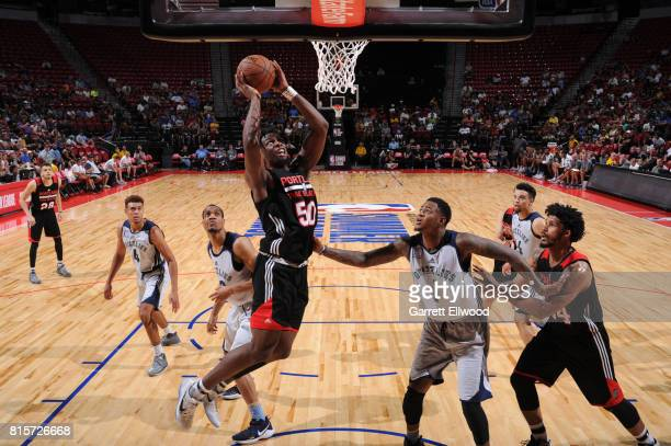 Caleb Swanigan of the Portland Trail Blazers goes to the basket against the Memphis Grizzlies during the 2017 Summer League Semifinals on July 16...