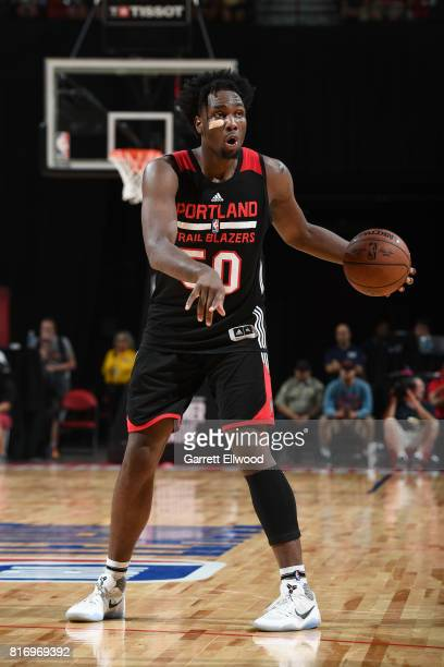 Caleb Swanigan of the Portland Trail Blazers handles the ball against the Los Angeles Lakers during the 2017 Summer League Finals on July 17 2017 at...