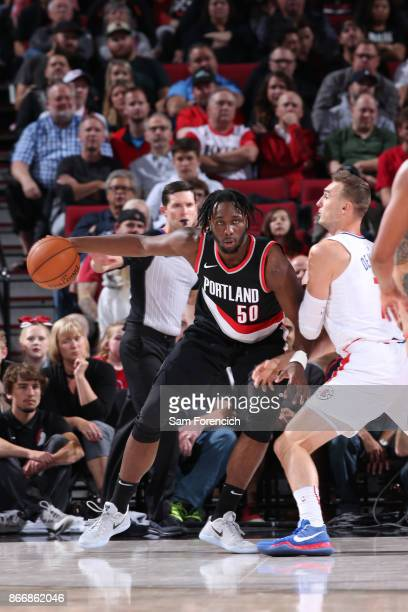 Caleb Swanigan of the Portland Trail Blazers handles the ball against the LA Clippers on October 26 2017 at the Moda Center in Portland Oregon NOTE...