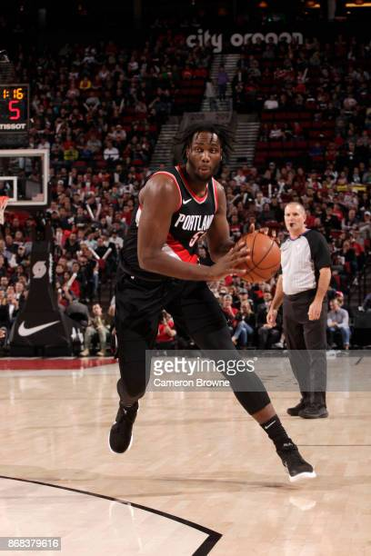 Caleb Swanigan of the Portland Trail Blazers handles the ball against the Toronto Raptors on October 30 2017 at the Moda Center in Portland Oregon...