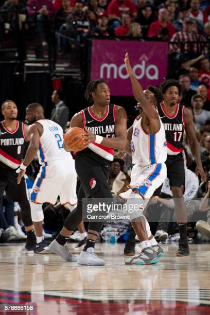 Caleb Swanigan of the Portland Trail Blazers handles the ball against the Oklahoma City Thunder on November 5 2017 at the Moda Center Arena in...