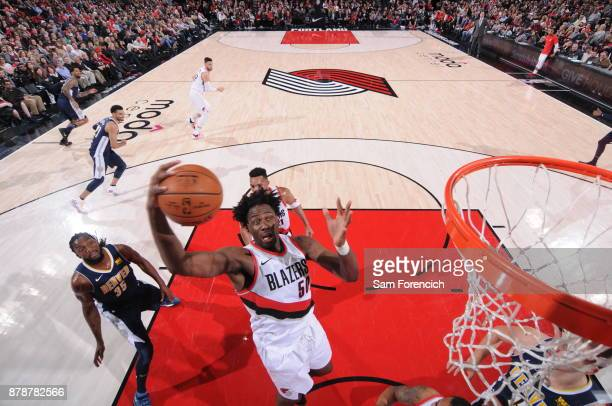 Caleb Swanigan of the Portland Trail Blazers handles the ball against the Denver Nuggets on November 13 2017 at the Moda Center in Portland Oregon...