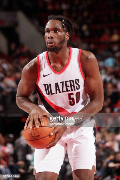Caleb Swanigan of the Portland Trail Blazers handles the ball during a preseason game against the Phoenix Suns on October 3 2017 at the Moda Center...