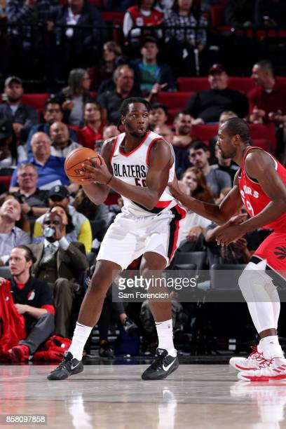 Caleb Swanigan of the Portland Trail Blazers handles the ball during the game against the Toronto Raptors during a preseason game on October 5 2017...