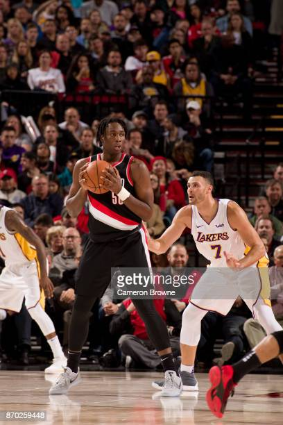 Caleb Swanigan of the Portland Trail Blazers handles the ball during the game against the Los Angeles Lakers on November 2 2017 at the Moda Center...