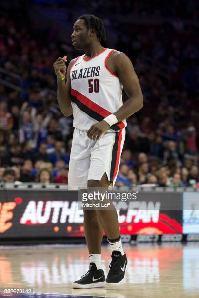Caleb Swanigan of the Portland Trail Blazers in action against the Philadelphia 76ers at the Wells Fargo Center on November 22 2017 in Philadelphia...
