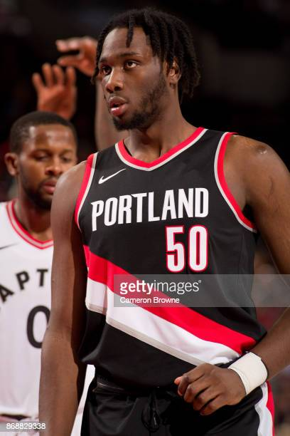 Caleb Swanigan of the Portland Trail Blazers looks on during the game against the Toronto Raptors on October 30 2017 at the Moda Center Arena in...