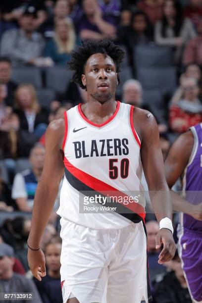 Caleb Swanigan of the Portland Trail Blazers looks on during the game against the Sacramento Kings on November 17 2017 at Golden 1 Center in...