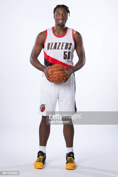 Caleb Swanigan of the Portland Trail Blazers poses for a portrait after being introduced to the media on June 26 2017 at the Trail Blazer Practice...