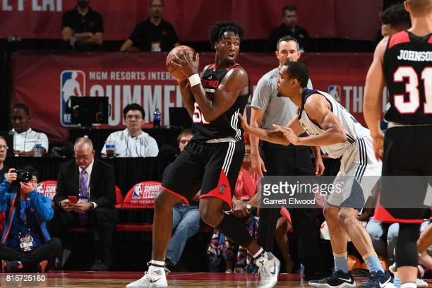 Caleb Swanigan of the Portland Trail Blazers posts up against the Memphis Grizzlies during the 2017 Summer League Semifinals on July 16 2017 at the...
