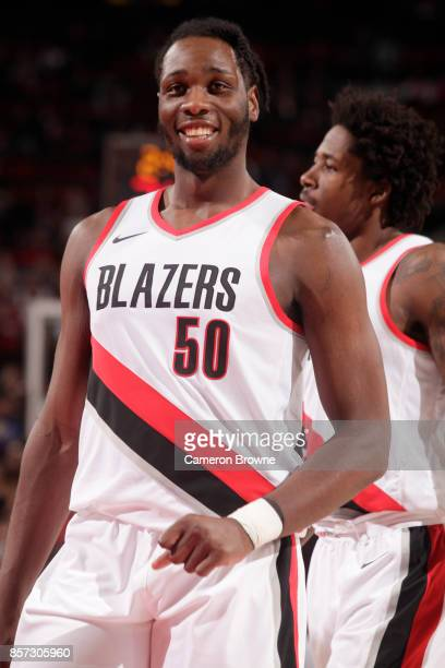 Caleb Swanigan of the Portland Trail Blazers reacts during a preseason game against the Phoenix Suns on October 3 2017 at the Moda Center in Portland...