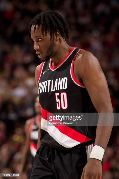 Caleb Swanigan of the Portland Trail Blazers reacts to a play during the game against the Toronto Raptors on October 30 2017 at the Moda Center Arena...