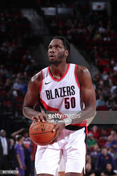 Caleb Swanigan of the Portland Trail Blazers shoots a free throw against the Phoenix Suns on October 3 2017 at the Moda Center in Portland Oregon...