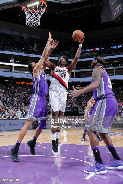 Caleb Swanigan of the Portland Trail Blazers shoots against Skal Labissiere of the Sacramento Kings on November 17 2017 at Golden 1 Center in...