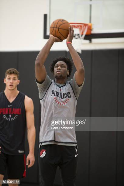Caleb Swanigan of the Portland Trail Blazers shoots the ball during an all access practice on December 7 2017 at the Trail Blazer Practice Facility...
