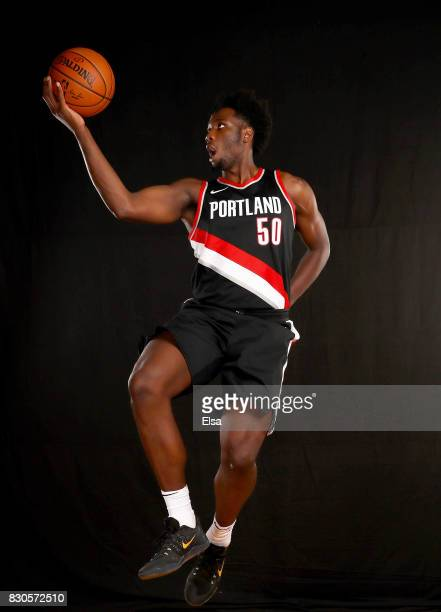 Caleb Swanigan of the Portland Trailblazers poses for a portrait during the 2017 NBA Rookie Photo Shoot at MSG Training Center on August 11 2017 in...