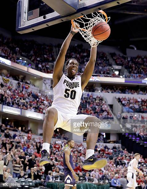 Caleb Swanigan of the Purdue Boilermakers dunks the ball during the game against the Notre Dame Fighting Irish during the Crossroads Classic at...