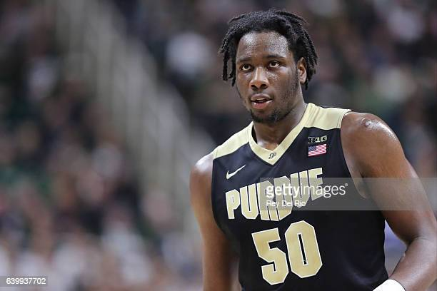 Caleb Swanigan of the Purdue Boilermakers in game action in the second half against the Michigan State Spartans at the Breslin Center on January 24...