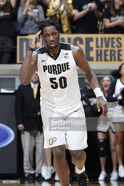 Caleb Swanigan of the Purdue Boilermakers reacts after making a threepoint basket against the Penn State Nittany Lions in the first half of the game...