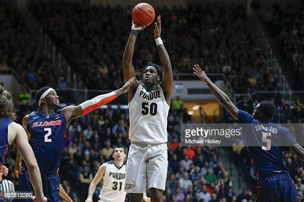Caleb Swanigan of the Purdue Boilermakers shoots the ball during the game against the Illinois Fighting Illini at Mackey Arena on January 17 2017 in...