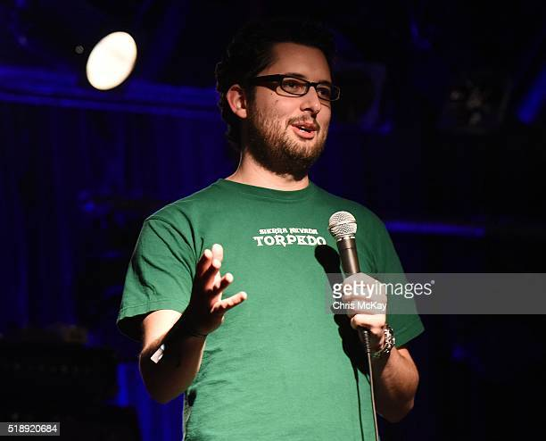 Caleb Synan performs stand up comedy during the 2016 Slingshot Festival's Comdey Night at 40 Watt Club on April 2 2016 in Athens Georgia