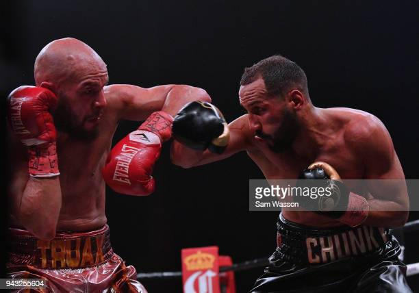Caleb Truax and James DeGale battle during their IBF super middleweight title fight at The Joint inside the Hard Rock Hotel Casino on April 7 2018 in...