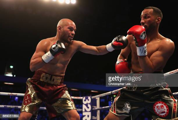 Caleb Truax in action as he beats James DeGale in the IBF World SuperMiddleweight Championship fight at Copper Box Arena on December 9 2017 in London...