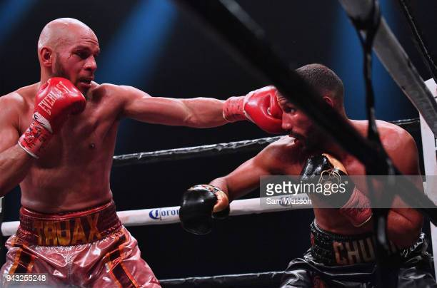 Caleb Truax lands a left on James DeGale during their IBF super middleweight title fight at The Joint inside the Hard Rock Hotel Casino on April 7...