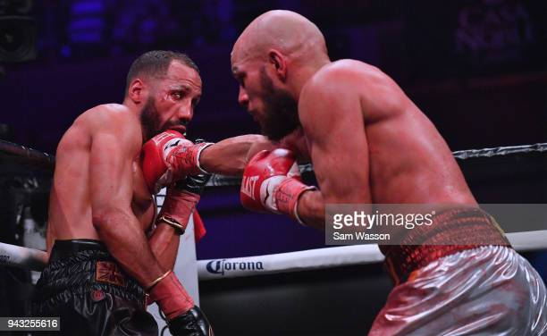 Caleb Truax lands a right on James DeGale during their IBF super middleweight title fight at The Joint inside the Hard Rock Hotel Casino on April 7...