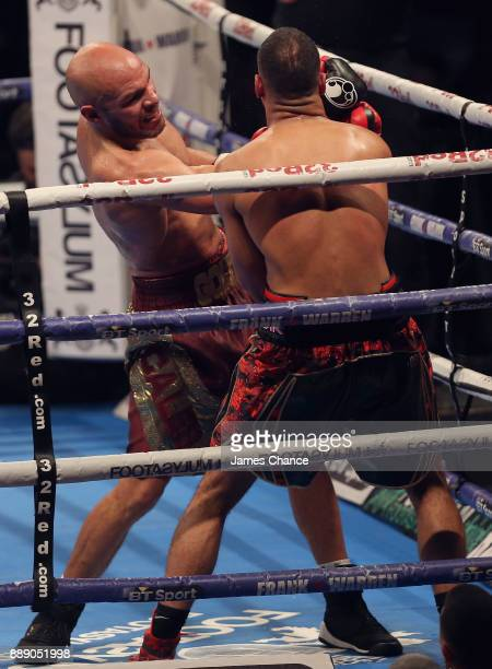 Caleb Truax punches James DeGale during there IBF World Super Middleweight Title fight to Caleb Truax at Copper Box Arena on December 9 2017 in...