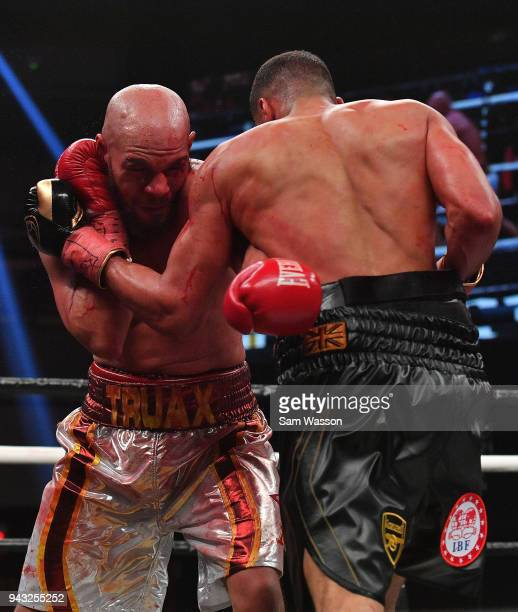 Caleb Truax throws a left at James DeGale during their IBF super middleweight title fight at The Joint inside the Hard Rock Hotel Casino on April 7...